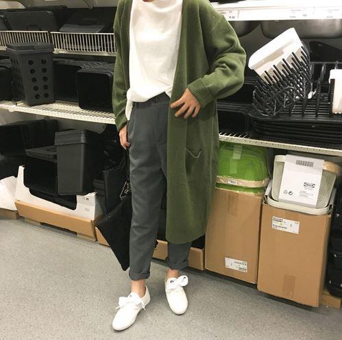Inverno new college vento solto longa camisola de malha cardigan casaco mulheres Frete grátis