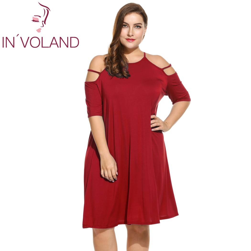 IN'VOLAND Vestido sexy para mujer Correa de espagueti de gran tamaño - Ropa de mujer