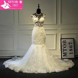Image 3 - Champagne Mermaid Lace Wedding Dress 2019 Backless See Through Vestidos de novia Robe De Mariage MTOB1734