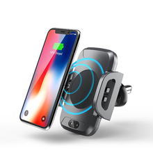 Cellular Cellphone Automobile Holder With 10W Qi Wi-fi Charger For iPhone X eight Plus Automobile Air Vent Mount stand Quick Charger For Samsung S8 S9