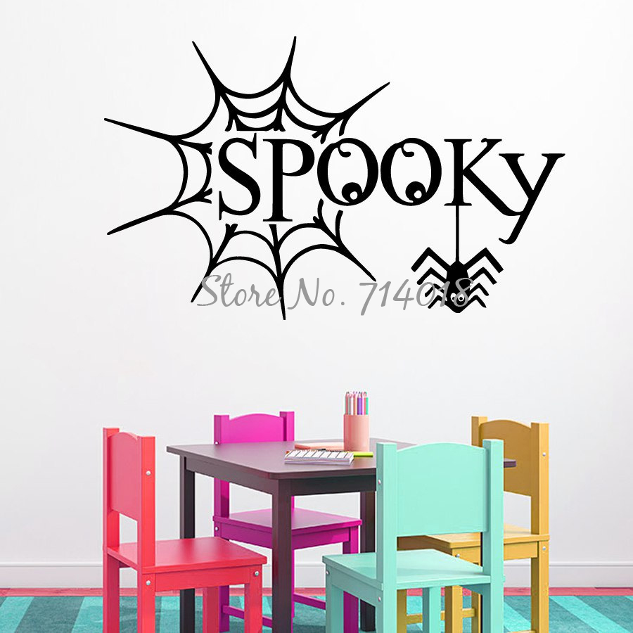 popular spooky home decor buy cheap spooky home decor lots from happy halloween wall decals spider web decal spooky halloween vinyl sticker home design art mural kids