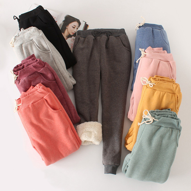 Women Girl Winter Harem Pants Warm Thicken Fleece Sherpa Casual Loose Joggers Trousers Drawstring Waist Slacks 200-A447 2