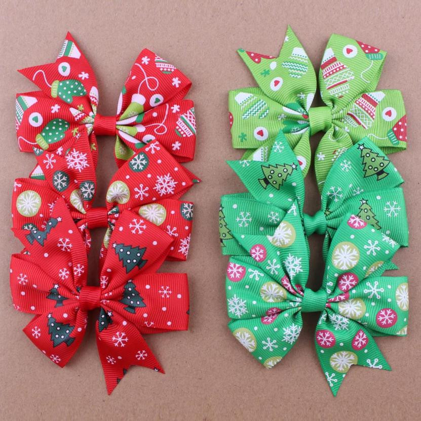 1 Pair Fashion Children Accessories Christmas Toddler Baby Kids Girls Bowknot Hairpin cute Headdress gift party lowest price
