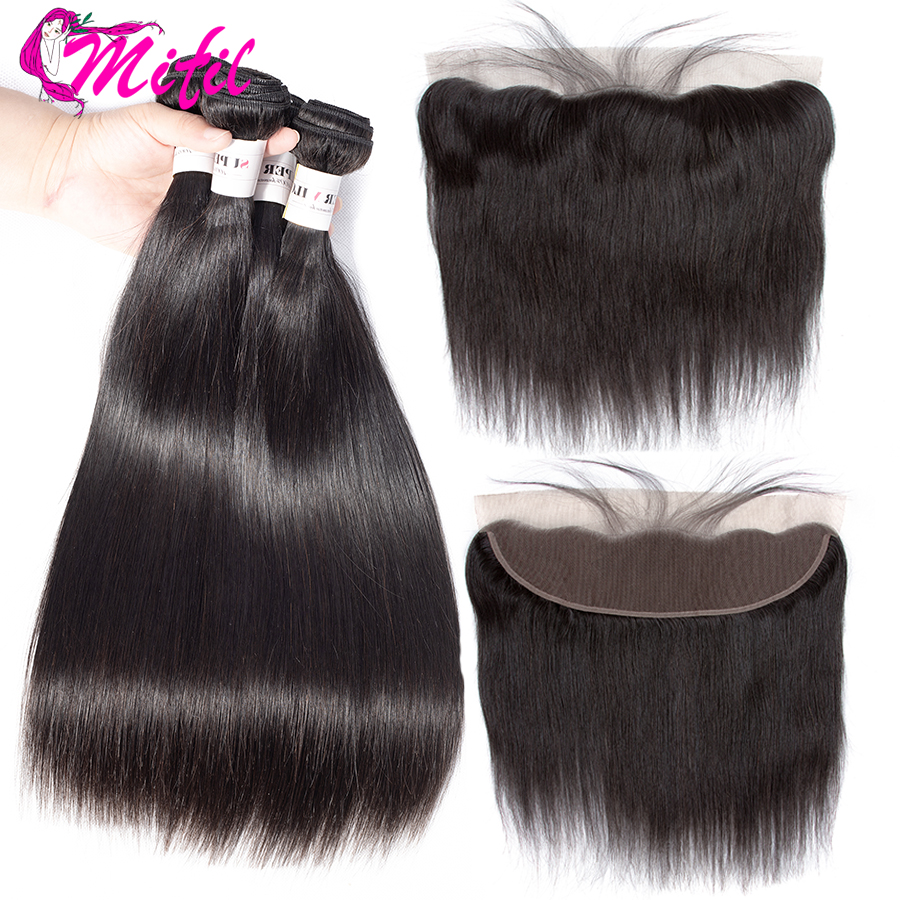 Mifil Indian Straight Hair Bundles With Frontal Non Remy Human Hair Bundles With Lace Frontal