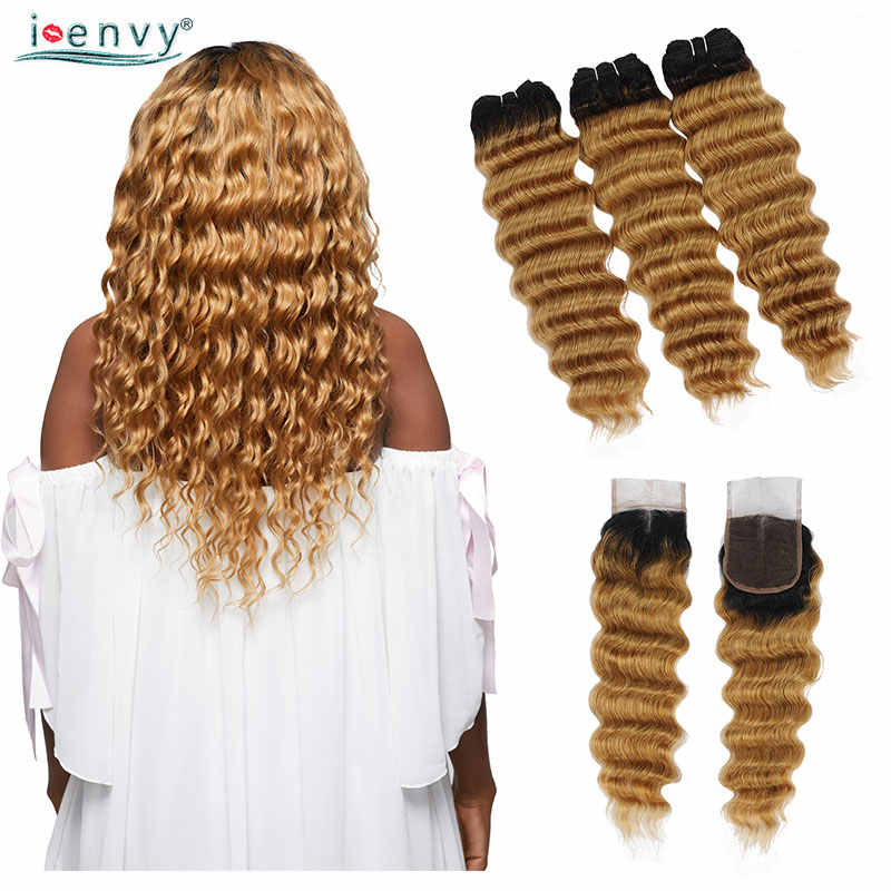 27 Pirang Bundel dengan Penutupan Longgar Gelombang Dalam Brasil Ombre Bundel dengan Penutupan Rambut Menenun Keriting Rambut Manusia Non remy
