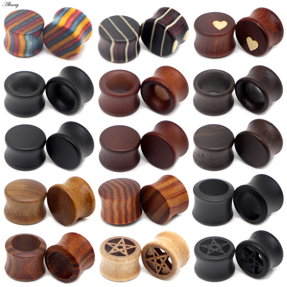 8-50mm Plugs And Tunnels Big Size Ear Tunnel Earrings Ear Stretcher Wood Expander Men Ear Piercing Body Piercing Tunnels Gauge