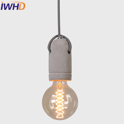 IWHD Cement Vintage Pendant Light Fixtures Style Loft Industrial Retro Pendant Lights Restaurant Dining Room Kitchen Lampara loft style vintage pendant lamp iron industrial retro pendant lamps restaurant bar counter hanging chandeliers cafe room