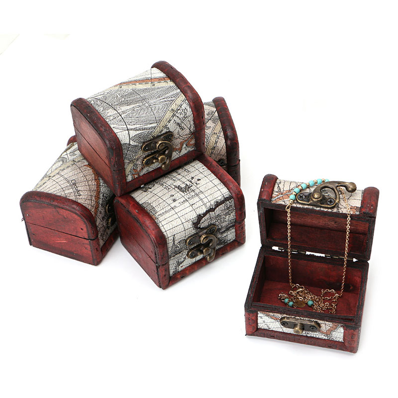 Wooden Pirate Map Jewellery Storage Box Case Holder Vintage Treasure Chest HT0809
