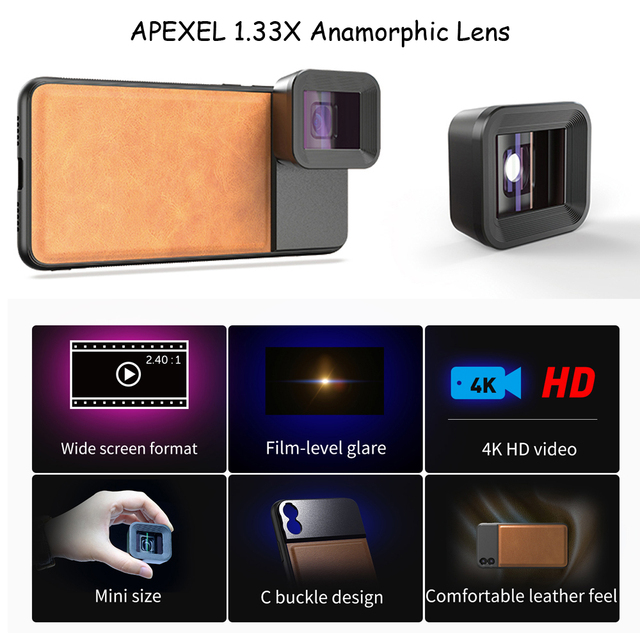 APEXEL HD professional moive Lens 1.33x WideScreen anamorphic lens Video Phone camera Lenses for Vlog iPhone Huawei smartphones 2