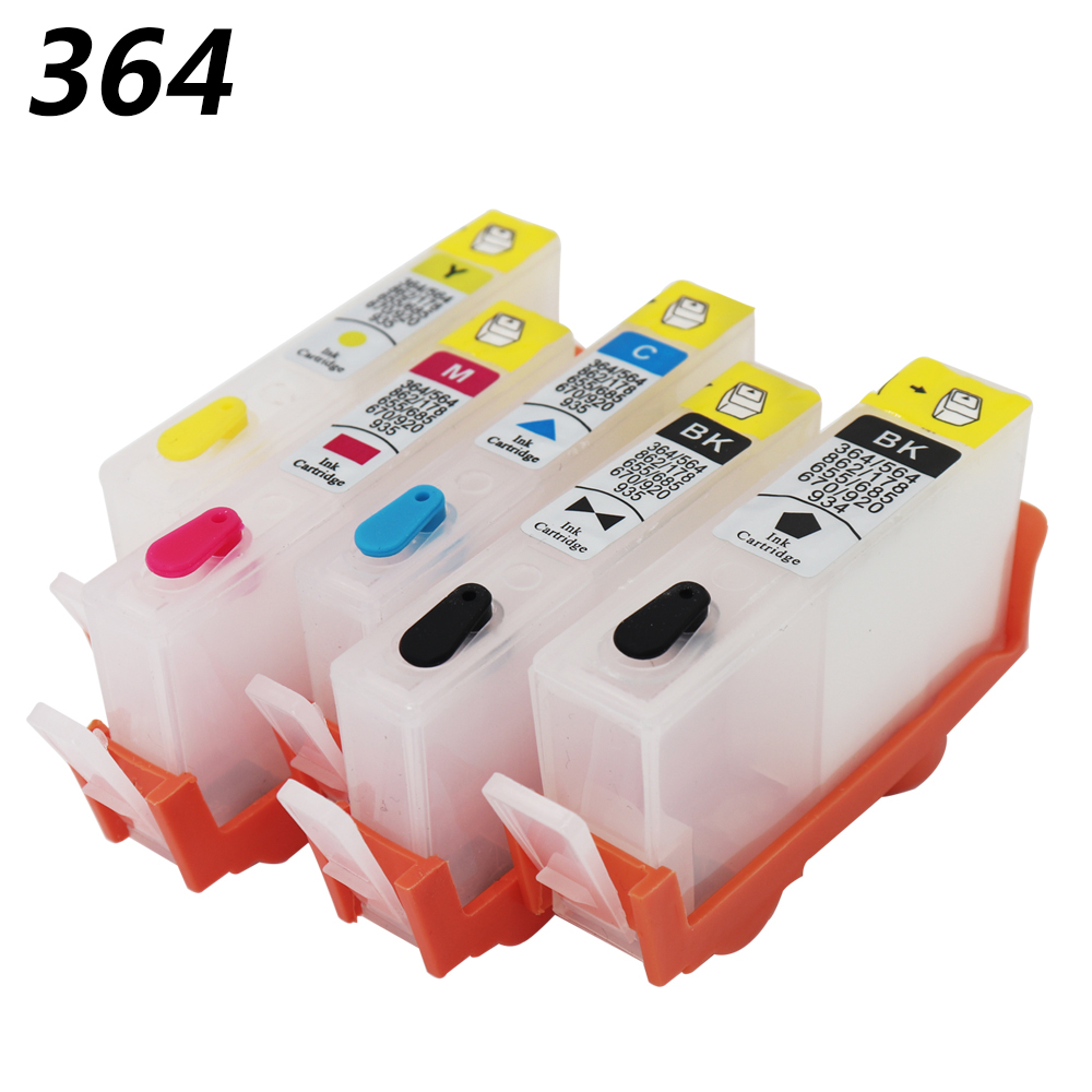 5 colors for HP364 Refillable Ink Cartridges for HP Photosmart B109n B209a C410b B211b C510a C/M/Y/K/K with ARC chips