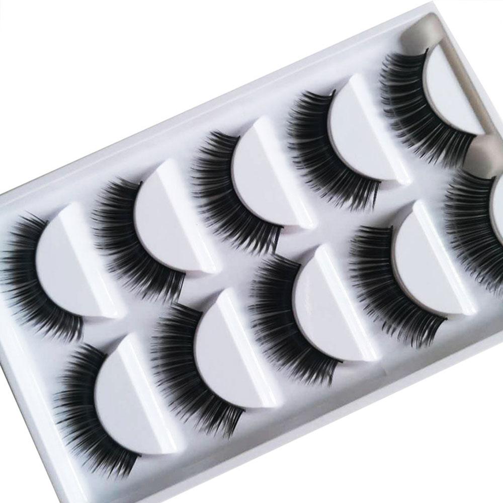 YALIAO Natural Long 5 Pairs False Eyelashes Thick Fake Eyelashes Black Soft 100 Handmade Eyelash Extension Makeup Tools in False Eyelashes from Beauty Health