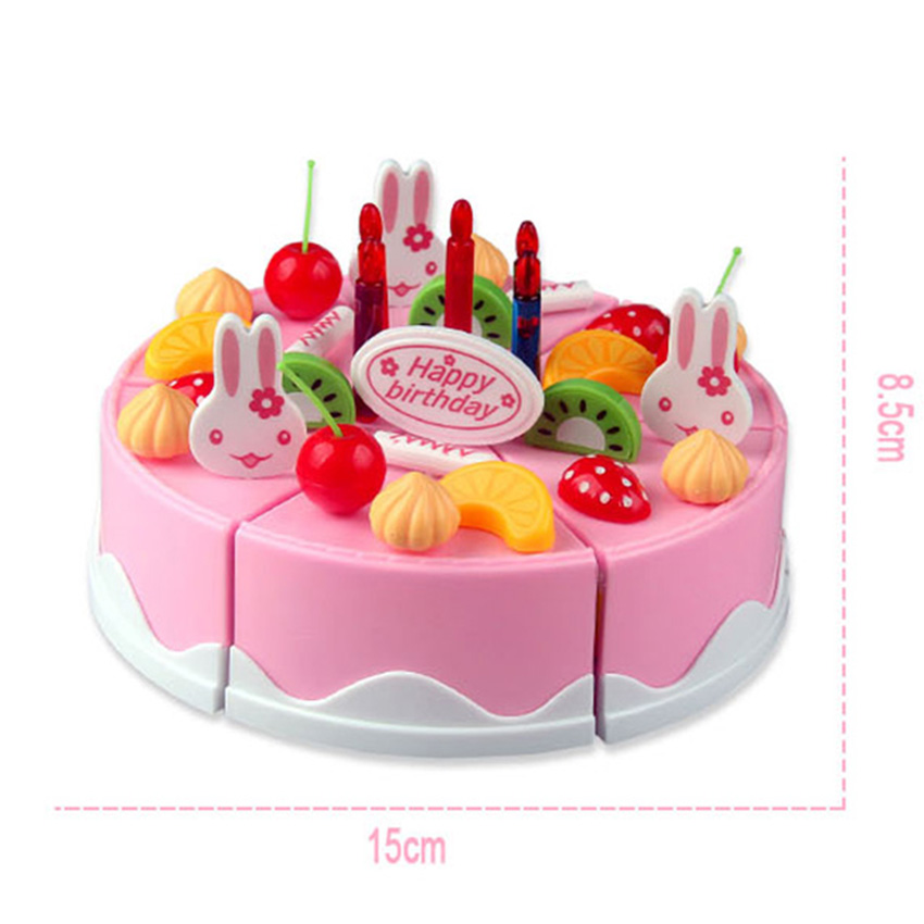 75pcs Birthday Cake Pretend Play Food Toy Set Kitchen Cutting Kit With Fruits Candle House Gift For Kids Girl Boys In Toys From