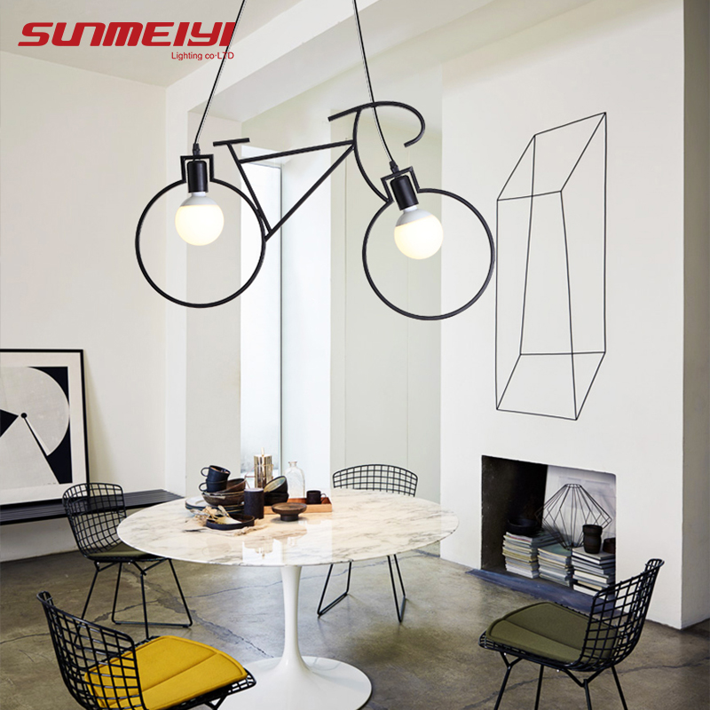 Modern Bicycle decor LED Pendant Lights For Living room Kitchen Coffee lustre pendente Hanging Lamp Nordic Vintage Light стоимость