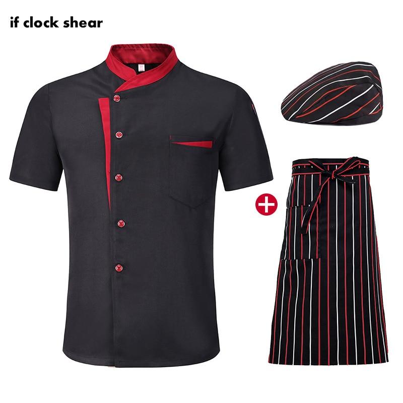 Unisex Chef Restaurant Hotel Uniform Short Sleeve Kitchen Workwear Breathable Catering Work Clothes Jacket +Hat +Apron Wholesale