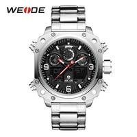 WEIDE Sport Watch Casual Business Auto Date Stopwatch Analog Digital Stainless Steel Band Quartz Wristwatch Relogio Masculino