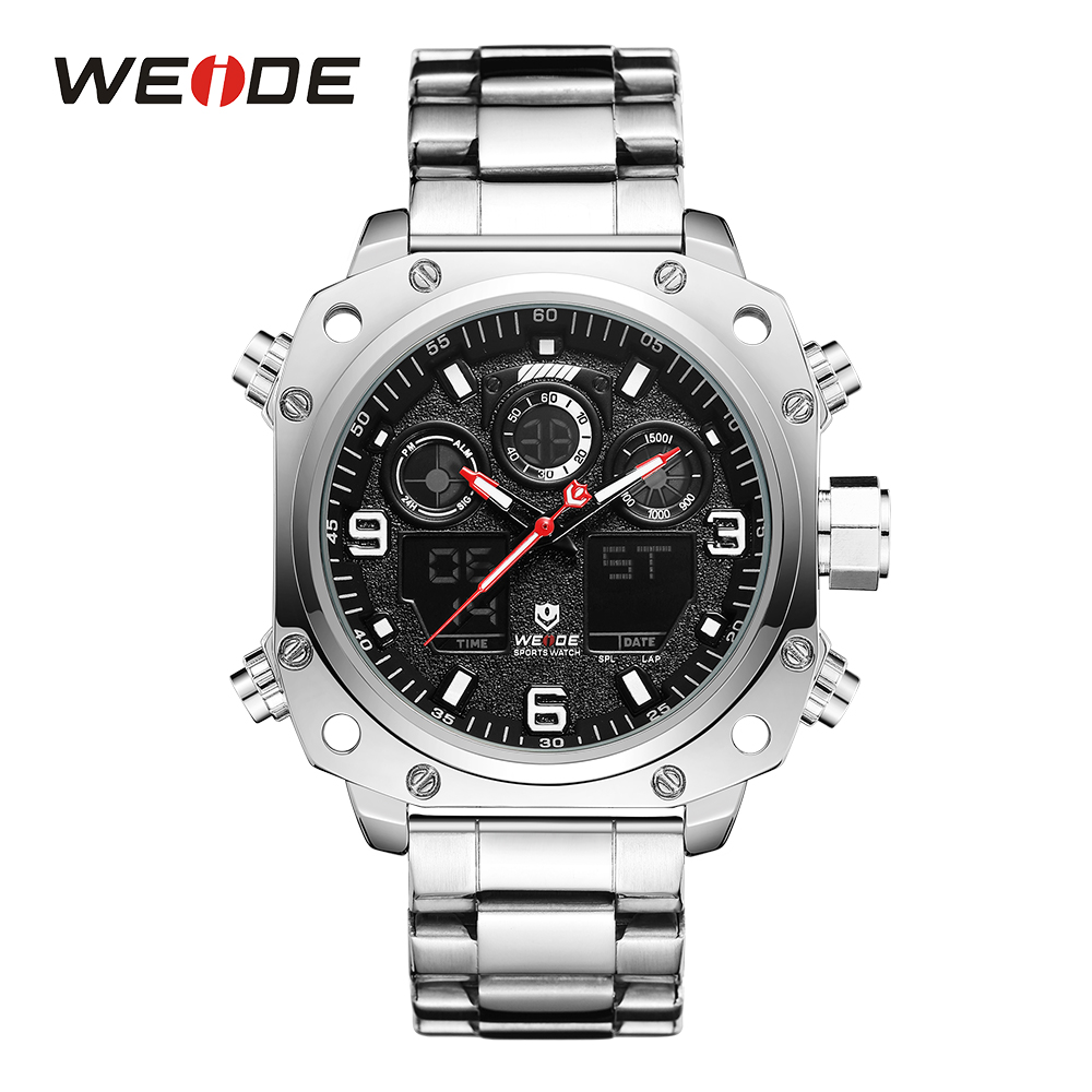 WEIDE Sport Watch Casual Business Auto Date Stopwatch Analog Digital Stainless Steel Band Quartz Wristwatch Relogio Masculino fanmusic 6p1 usb decoder tube amplifier