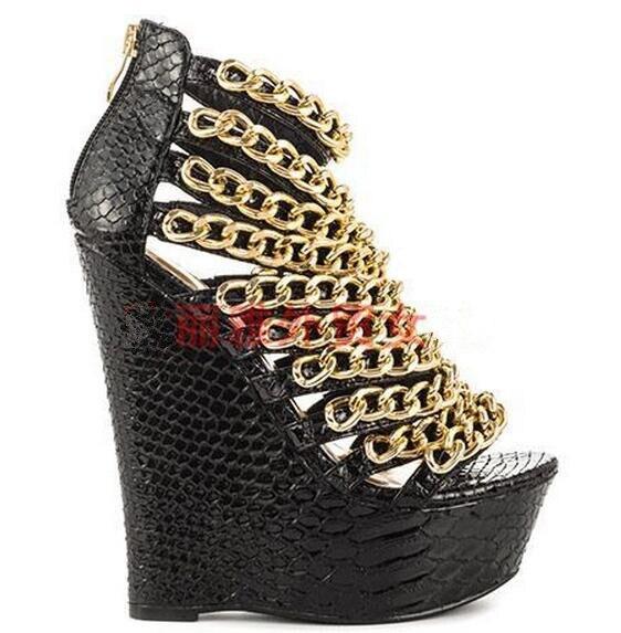 Sandale forme Métal Peep Chaînes Plate Couverture Toe Wedge Black Bottes Or Chaussons Femme pink Talon Gladiateur D'été 7SCwqq