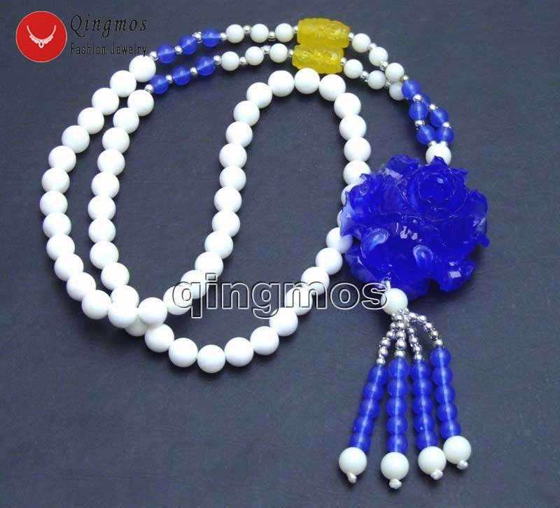 "Qingmos ดอกไม้สีฟ้า 40 มิลลิเมตรจี้สร้อยคอผู้หญิงสีขาว Giant Clam 26 ""สร้อยคอ Lady's charm เครื่องประดับ n5878"
