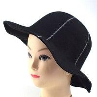 כובעי שמש כובעי פדורה של אנגליה קוריאני סתיו חורף נשים עבור כובע צמר רחב שולי גברת אישה 100% שישה פנל עבור נשים