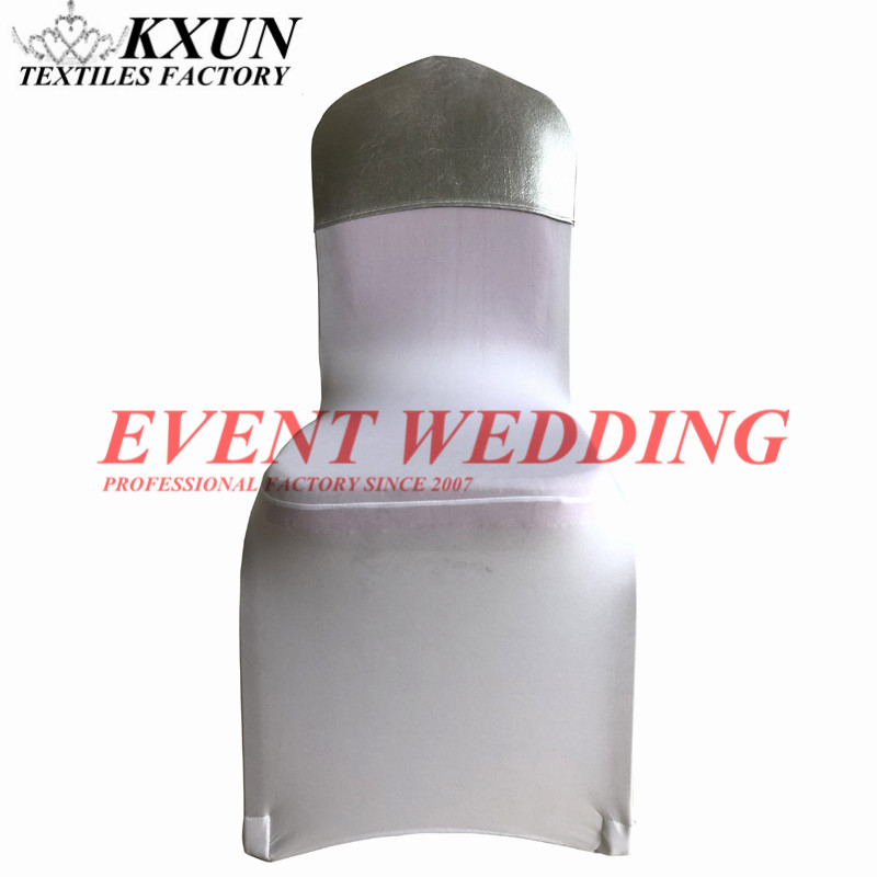 Bronzing Coated Lycra Chair Cap Hood For Banquet Wedding Spandex Chair Cover Decoration