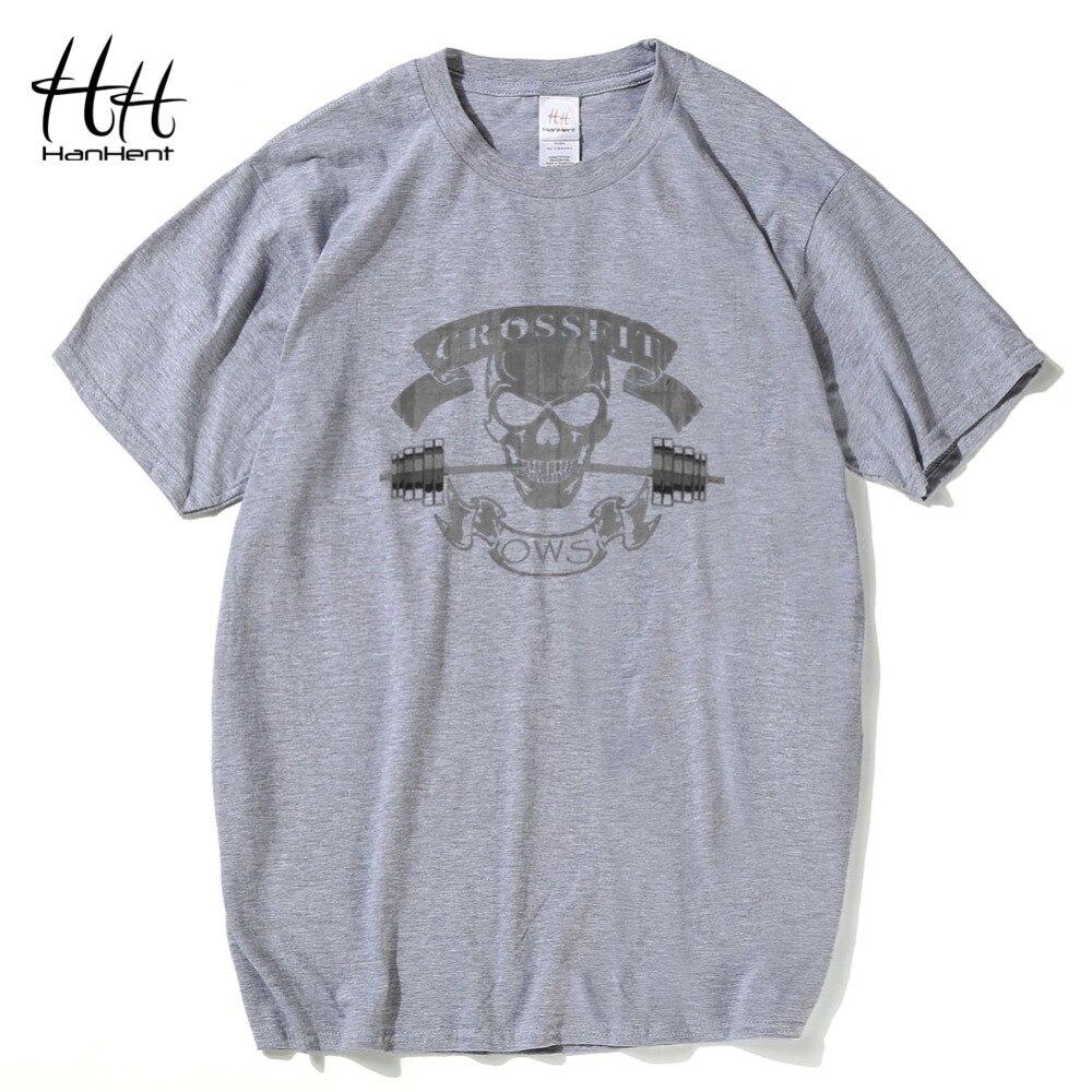HanHent Yeni Moda Tees Crossfit Kafatası T Shirt Erkekler Spor - Erkek Giyim - Fotoğraf 2