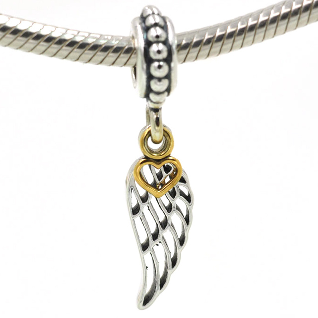 8354d4e7f Authentic 925 Sterling Silver Beads Gold Heart Angel Wing Charm Pendant  Fits Pandora Charms Bracelet Necklace Women DIY Jewelry