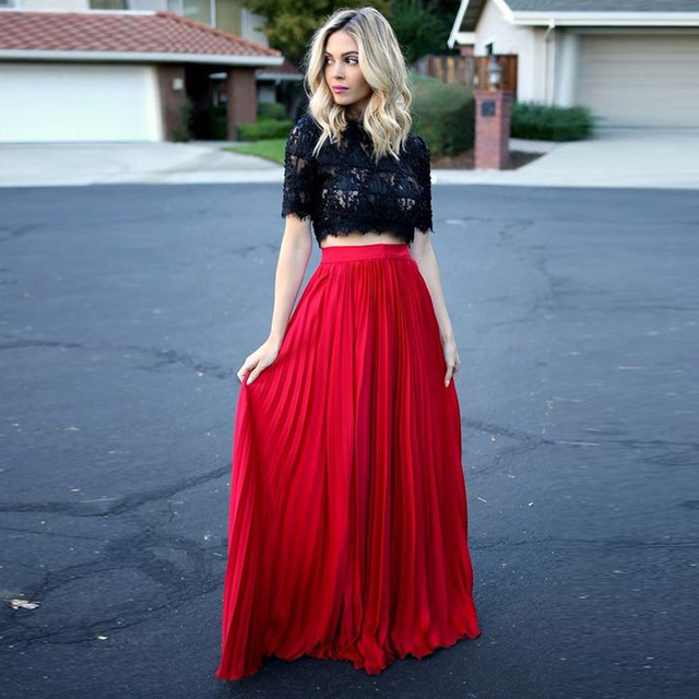 fda9185341 England Style Red Pleated Long Skirts For Pretty Women Floor Length Skirt  2016 Zipper Style Color Size Free Custom Made