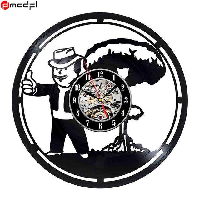 Fallout Theme Black Vinyl 3D Wall Clock Vintage Art Sticker Retro Home Decoration Duvar Saati Support Drop Shipping
