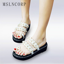 plus size 34-44 Fashion Women Summer Platform Sandals Pearls Cut Out Ladies Casual Beach Slippers Mules Slides Peep toe Shoes summer fashion blue jeans cut out sandals peep toe height increasing wedge summer denim dress shoes woman for women size 34
