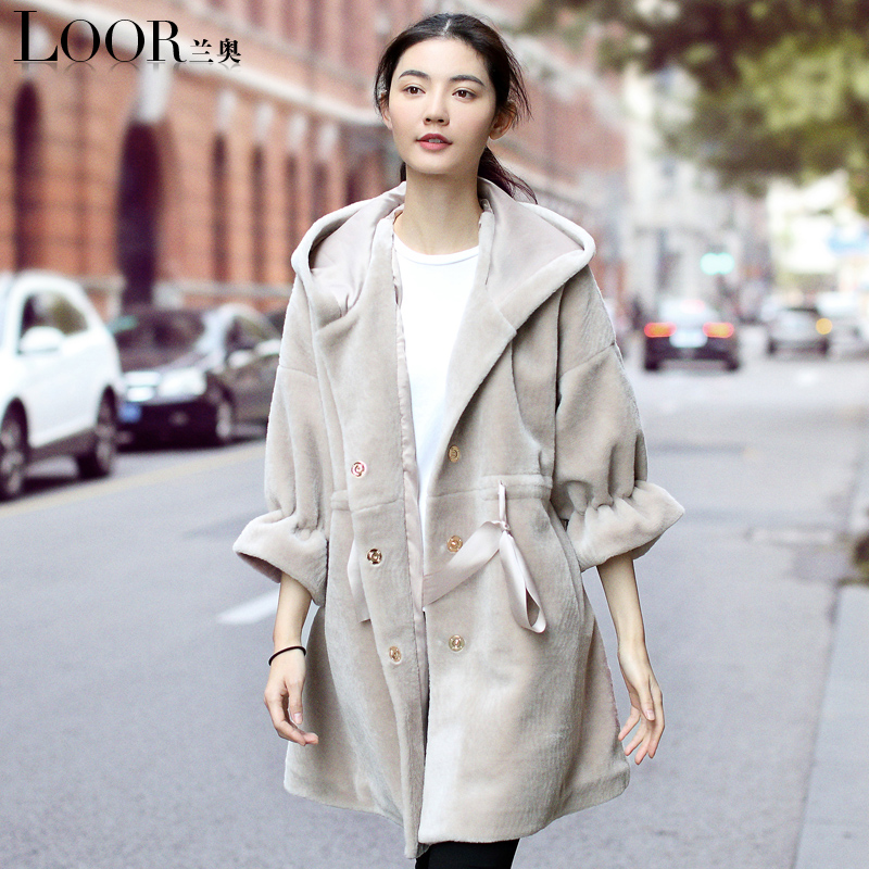 manteau femme 2017 new gray long dress real fur wool coat winter Take a hat Thick