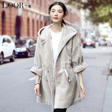 manteau femme 2017 new gray long dress real fur wool coat winter Take a hat Thick hooded High quality women Lamb Fur coats