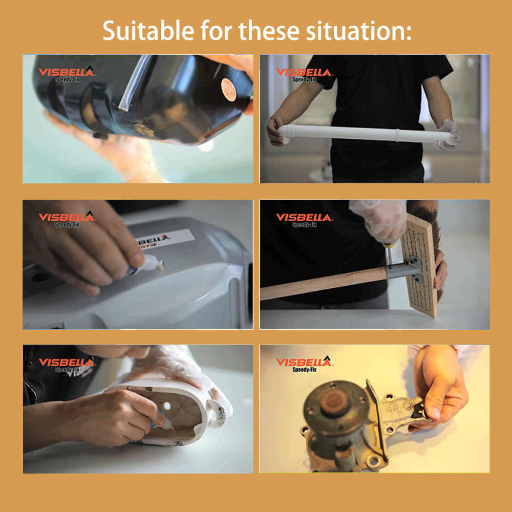 VISBELLA 3 個 7 第二スピーディフィックスパウダー接着剤クイック接着糊修理記入補強デュアル耐水性シーラント