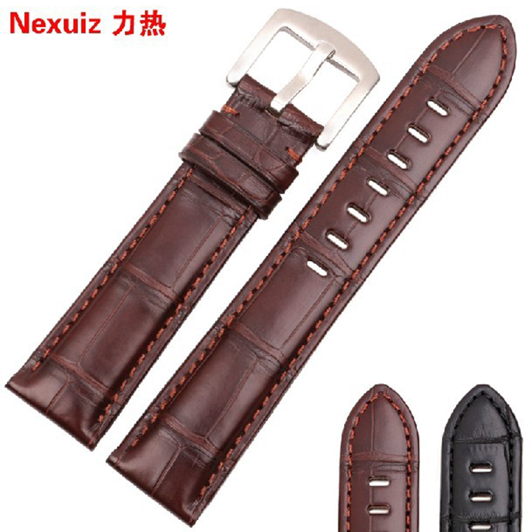 New Arrival Watchband For Brand Watches Men Stylish  20mm 21mm 22mm Luxury Alligator Watch Band Straps Bracelet Free Shipping 20mm buckle 16mm black brown high quality alligator leather watchband waterproof straps bracelets for brand luxury men watches