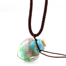 Модный кулон с цветами, ожерелье, красочный стеклянный Кулон лэмпворк, ожерелье, диффузор эфирного масла, сердце, флакон духов