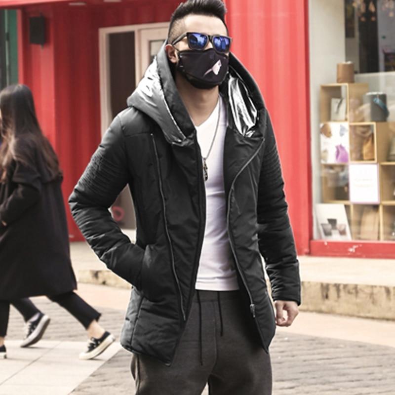 Men British Winter Padded Warm Cotton Long Version Coat Jacket Metrosexual Man Hooded Cotton Brand Design Casual Outwear F2126