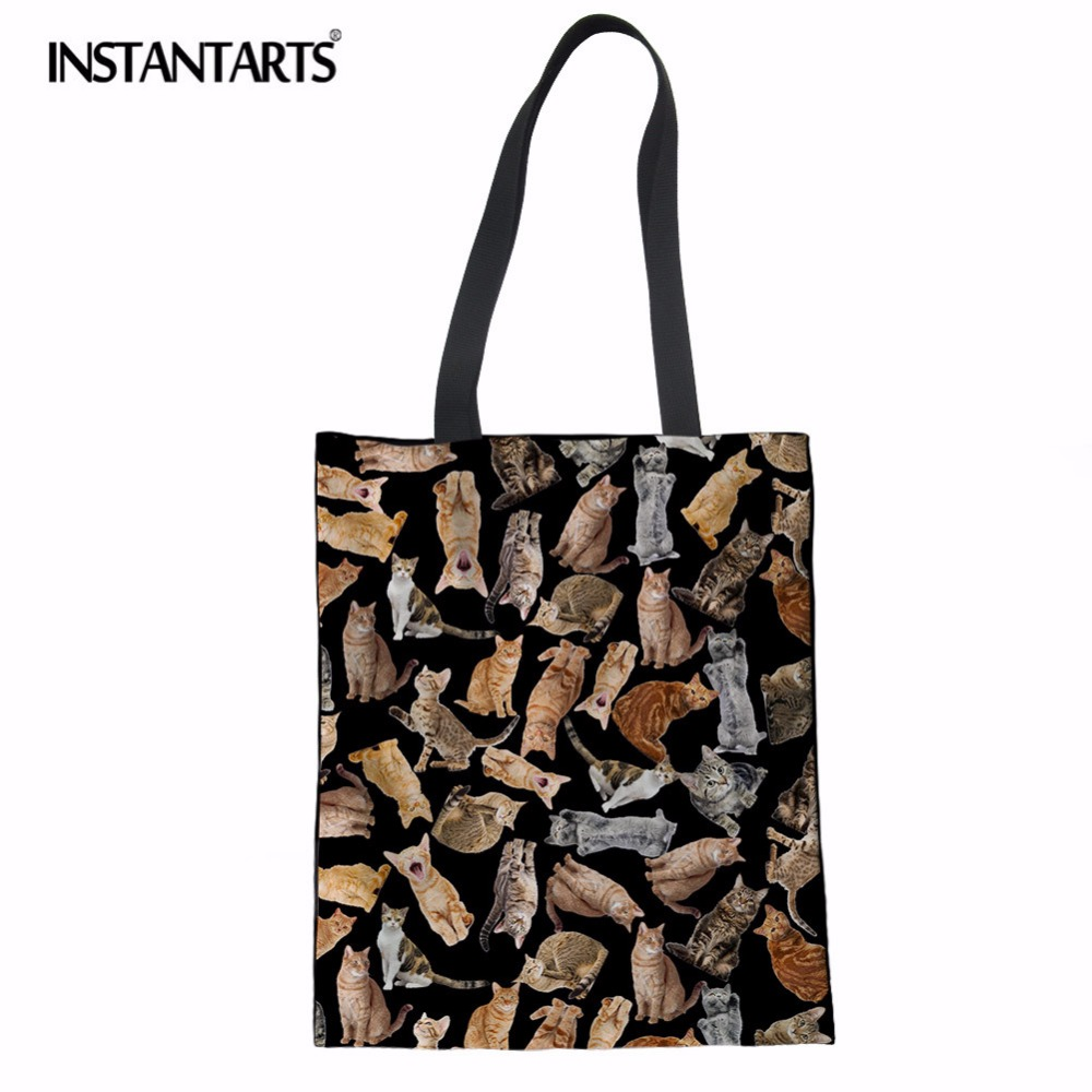 INSTANTARTS Eco Reusable Canvas Shopping Bags Cute Cat Puzzle Print Linen Tote Bag Women Casual Grocery Shoulder Bag Travel Bag