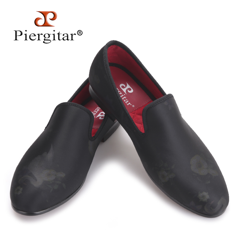 Piergitar 2017 new Handmade men floral designs fabric shoes Fashion party and wedding men's dress shoes big size male loafers piergitar 2016 new india handmade luxurious embroidery men velvet shoes men dress shoes banquet and prom male plus size loafers