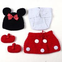 Accesorios de Fotografía Tejer Traje de Ganchillo para Bebé Recién Nacido Soft Adorable Bebé Ropa Photo Niños Foto Atrezzo Beanie Zapatos