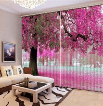 Custom any size Blackout Shade Window Curtains Big Tree Pink Flowers Curtain Decoration Window Curtain Living Room(China)