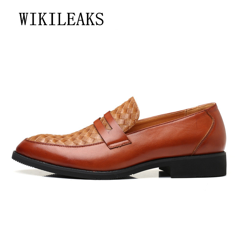 italian business men shoes leather woven elegant formal dress flats designer office footwear luxury brand oxford shoes for men ...