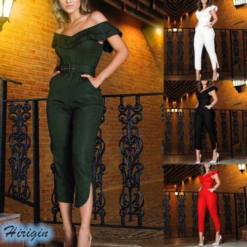 Summer Jumpsuits 2019 New Women Casual Ruffles Slash Neck Off Shoulder High Waist Slim