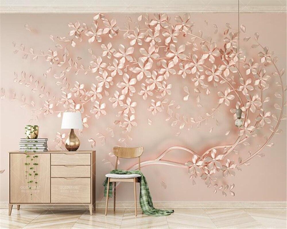 Купить с кэшбэком beibehang wallpaper  Luxury and elegant 3D new flowers rose gold wallpaper mural TV background painting wall papers home decor