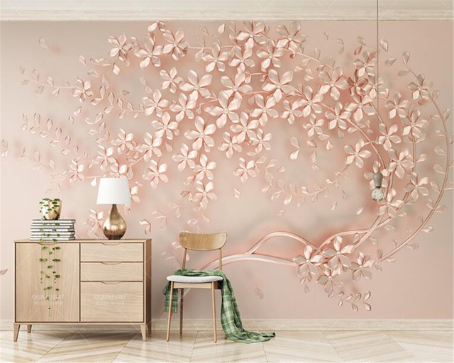 Beibehang Behang Luxury And Elegant D New Flowers Rose Gold Wallpaper Mural Tv Background Painting Wall