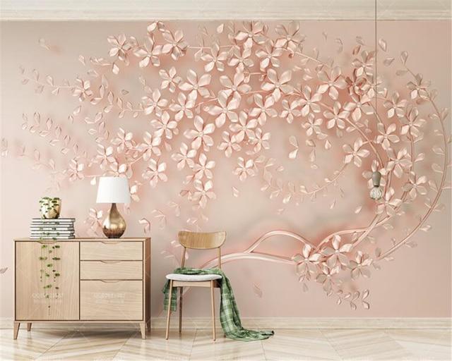 beibehang behang Luxury and elegant 3D new flowers rose gold wallpaper mural TV background painting wall.jpg 640x640 - Wallpaper Behang