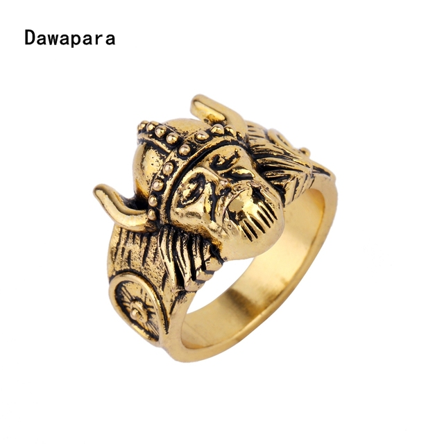 dawapara norse viking warrior ring with antique gold color ring fashion jewelry anel classic party ring - Norse Wedding Rings
