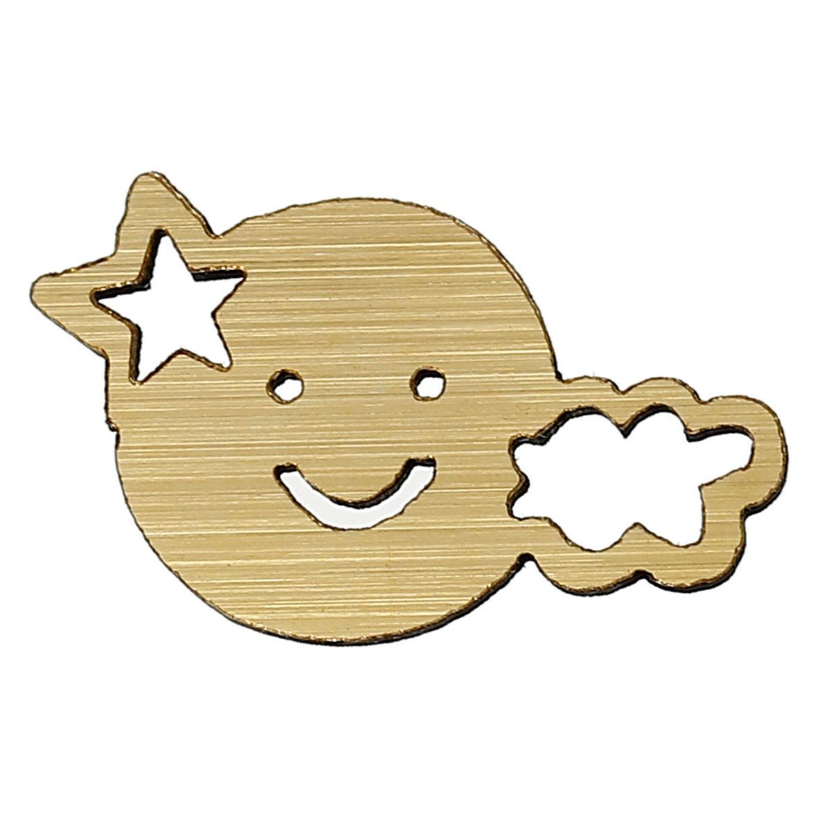 DoreenBeads Wood Cabochons Scrapbooking Embellishments Findings Cloud Golden Smile Star Hollow 32mm(1 2/8)x 19mm(6/8),50 PCs