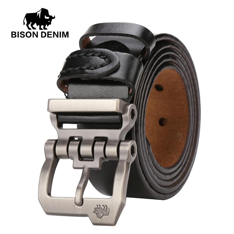 BISON DENIM Belt For Men Cowskin Genuine Lether Personality Buckle Quality Male Strap Vintage Jeans N71223