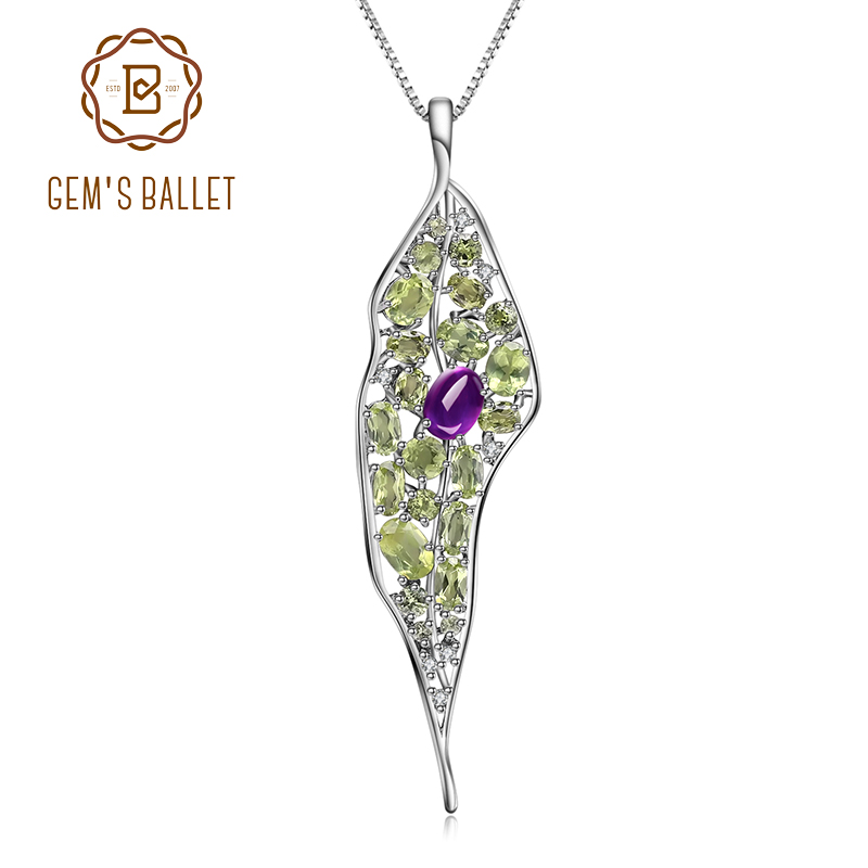 GEM'S BALLET Natural Amethyst Peridot Gemstone 925 Sterling Sliver Vintage Palace Pendant Necklace For Women Fine Jewelry
