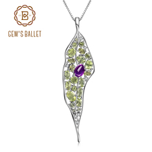 GEMS BALLET Natural Amethyst Peridot Gemstone 925 Sterling Sliver Vintage Palace Pendant Necklace For Women Fine Jewelry