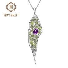 Gems balé natural de ametista peridot, colar com pingente vintage palácio, joia fina para mulheres, preto de pedra preciosa 925